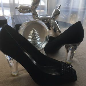 Black Satin shoes with a lucite Heel open toe